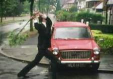 Fawlty applies the rod